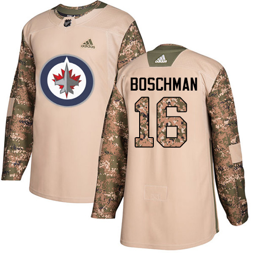 Men's Adidas Winnipeg Jets #16 Laurie Boschman Authentic Camo Veterans Day Practice NHL Jersey