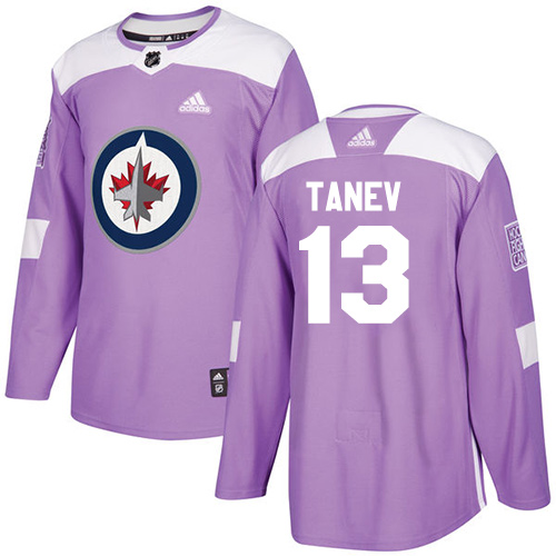 Men's Adidas Winnipeg Jets #13 Brandon Tanev Authentic Purple Fights Cancer Practice NHL Jersey