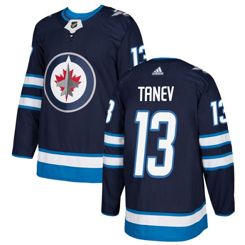 Men's Adidas Winnipeg Jets #13 Brandon Tanev Authentic Navy Blue Home NHL Jersey