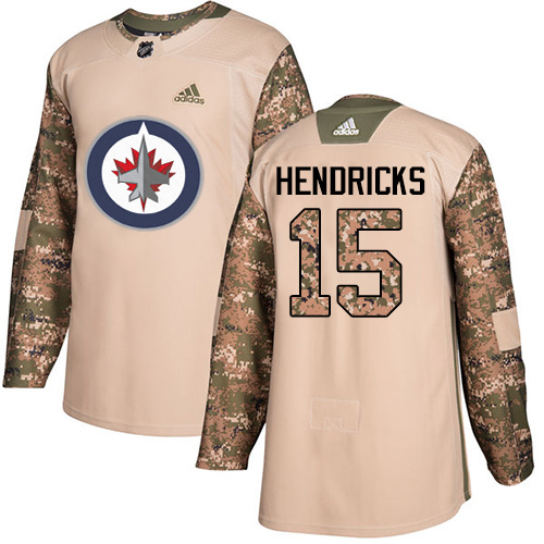 Men's Adidas Winnipeg Jets #15 Matt Hendricks Authentic Camo Veterans Day Practice NHL Jersey