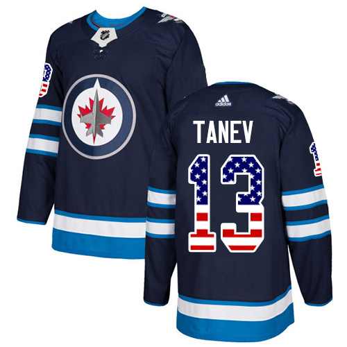 Men's Adidas Winnipeg Jets #13 Brandon Tanev Authentic Navy Blue USA Flag Fashion NHL Jersey