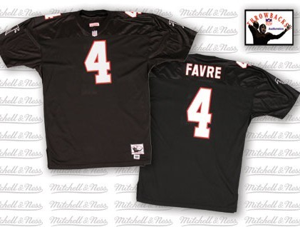 Men's Mitchell and Ness Atlanta Falcons #4 Brett Favre Authentic Black Throwback NFL Jersey