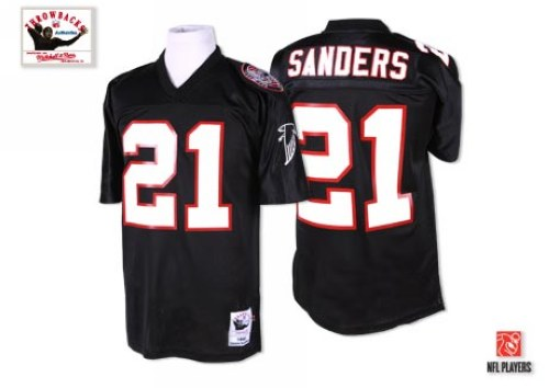 Men's Mitchell and Ness Atlanta Falcons #21 Deion Sanders Authentic Black Throwback NFL Jersey