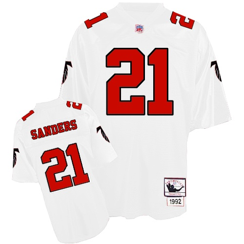 Men's Mitchell and Ness Atlanta Falcons #21 Deion Sanders Authentic White Throwback NFL Jersey