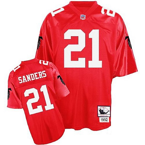 Men's Mitchell and Ness Atlanta Falcons #21 Deion Sanders Authentic Red Throwback NFL Jersey