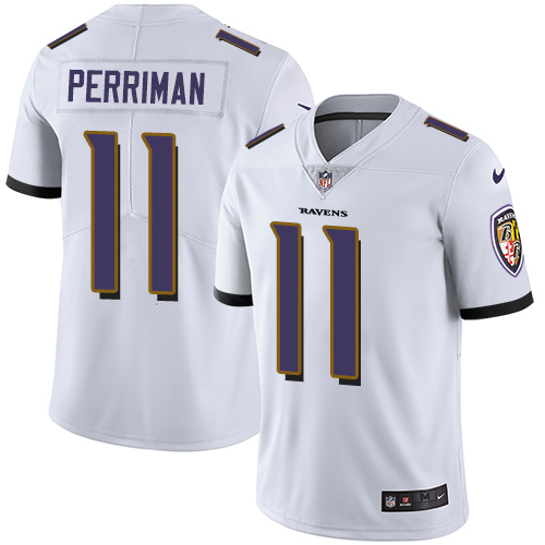 Men's Nike Baltimore Ravens #11 Breshad Perriman White Vapor Untouchable Limited Player NFL Jersey