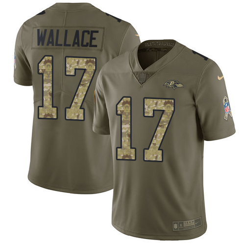 Men's Nike Baltimore Ravens #17 Mike Wallace Limited Olive/Camo Salute to Service NFL Jersey