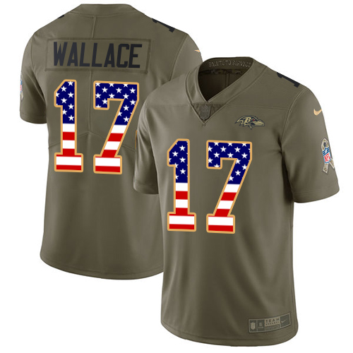 Men's Nike Baltimore Ravens #17 Mike Wallace Limited Olive/USA Flag Salute to Service NFL Jersey