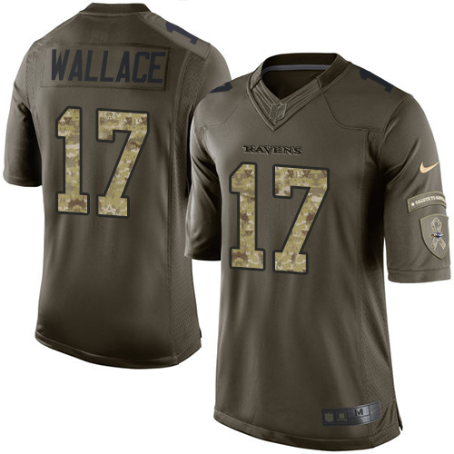 Men's Nike Baltimore Ravens #17 Mike Wallace Elite Green Salute to Service NFL Jersey