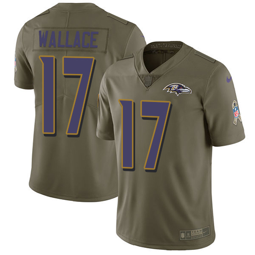 Men's Nike Baltimore Ravens #17 Mike Wallace Limited Olive 2017 Salute to Service NFL Jersey