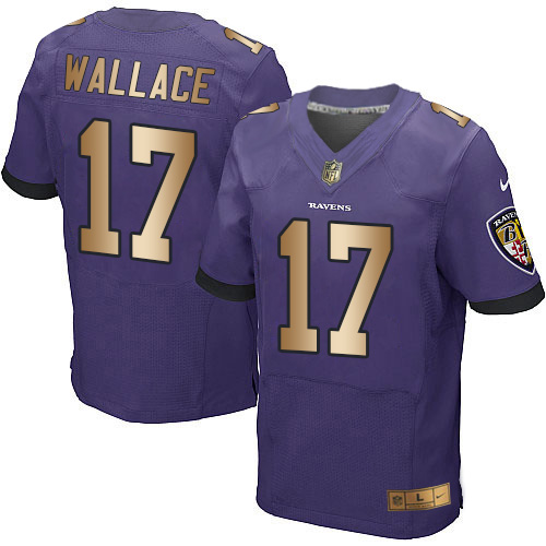 Men's Nike Baltimore Ravens #17 Mike Wallace Elite Purple/Gold Team Color NFL Jersey