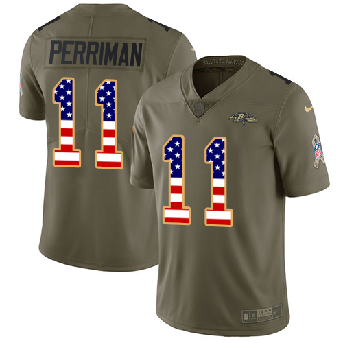 Men's Nike Baltimore Ravens #11 Breshad Perriman Limited Olive/USA Flag Salute to Service NFL Jersey