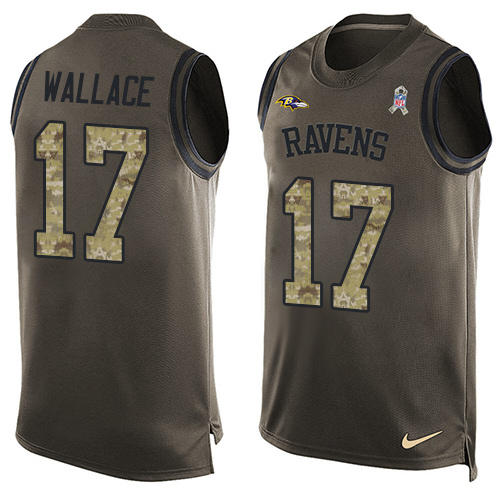 Men's Nike Baltimore Ravens #17 Mike Wallace Limited Green Salute to Service Tank Top NFL Jersey