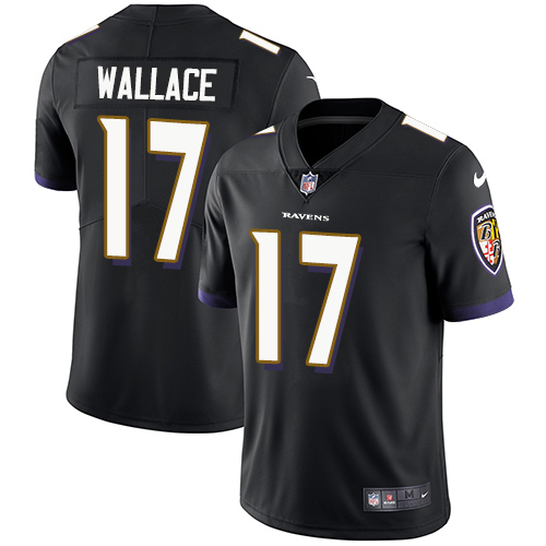 Men's Nike Baltimore Ravens #17 Mike Wallace Black Alternate Vapor Untouchable Limited Player NFL Jersey