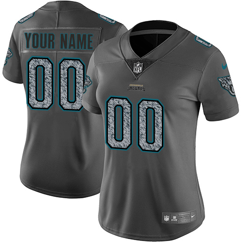 Women's Nike Jacksonville Jaguars Customized Gray Static Vapor Untouchable Limited NFL Jersey