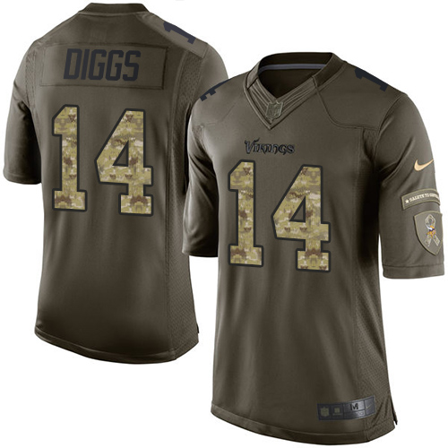 Men's Nike Minnesota Vikings #14 Stefon Diggs Elite Green Salute to Service NFL Jersey