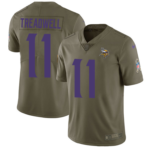 Men's Nike Minnesota Vikings #11 Laquon Treadwell Limited Olive 2017 Salute to Service NFL Jersey