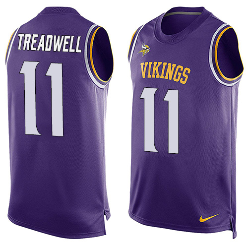 Men's Nike Minnesota Vikings #11 Laquon Treadwell Limited Purple Player Name & Number Tank Top NFL Jersey
