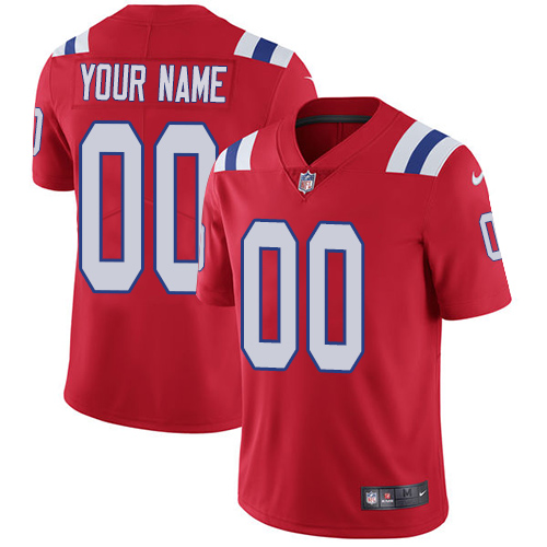 Men's Nike New England Patriots Customized Red Alternate Vapor Untouchable Custom Limited NFL Jersey