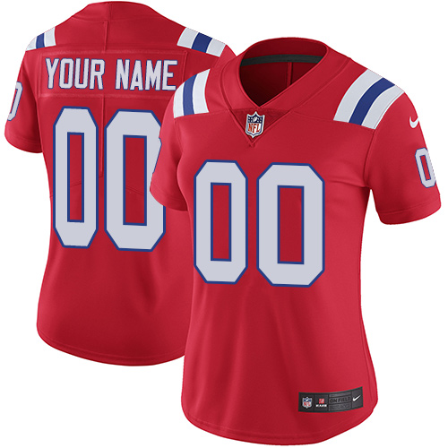 Women's Nike New England Patriots Customized Red Alternate Vapor Untouchable Custom Limited NFL Jersey