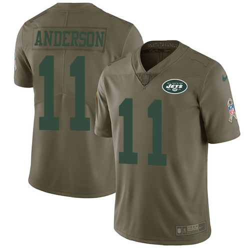 Men's Nike New York Jets #11 Robby Anderson Limited Olive 2017 Salute to Service NFL Jersey