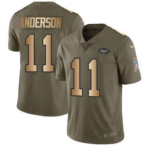 Men's Nike New York Jets #11 Robby Anderson Limited Olive/Gold 2017 Salute to Service NFL Jersey