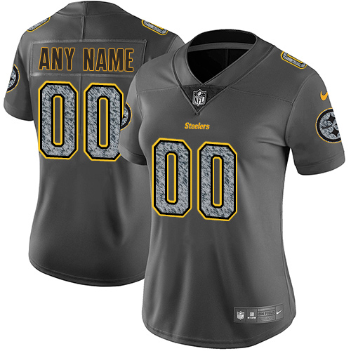 Women's Nike Pittsburgh Steelers Customized Gray Static Vapor Untouchable Custom Limited NFL Jersey