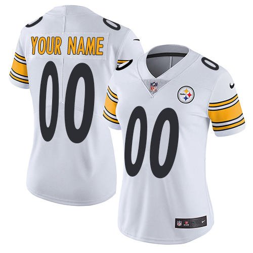 Women's Nike Pittsburgh Steelers Customized White Vapor Untouchable Custom Limited NFL Jersey