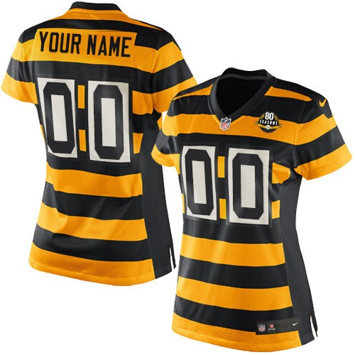 Women's Nike Pittsburgh Steelers Customized Limited Yellow/Black Alternate 80TH Anniversary Throwback NFL Jersey