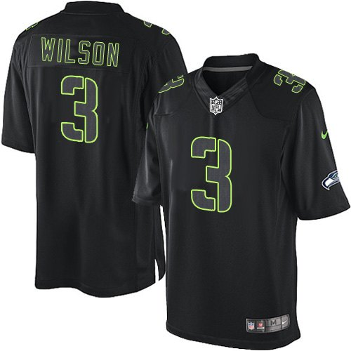 Men's Nike Seattle Seahawks #3 Russell Wilson Limited Black Impact NFL Jersey