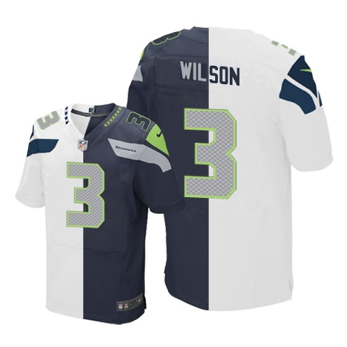 Men's Nike Seattle Seahawks #3 Russell Wilson Elite Navy/White Split Fashion NFL Jersey