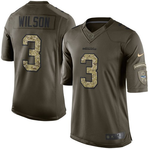Men's Nike Seattle Seahawks #3 Russell Wilson Elite Green Salute to Service NFL Jersey