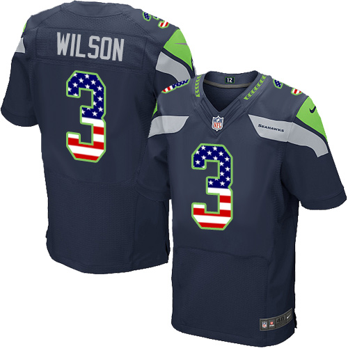 Men's Nike Seattle Seahawks #3 Russell Wilson Elite Navy Blue Home USA Flag Fashion NFL Jersey