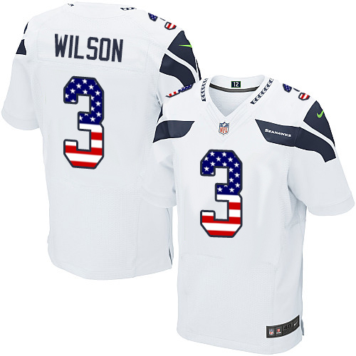 Men's Nike Seattle Seahawks #3 Russell Wilson Elite White Road USA Flag Fashion NFL Jersey