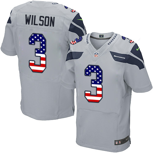 Men's Nike Seattle Seahawks #3 Russell Wilson Elite Grey Alternate USA Flag Fashion NFL Jersey