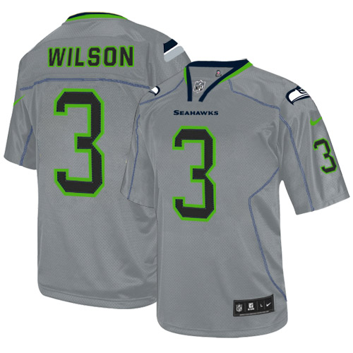 Men's Nike Seattle Seahawks #3 Russell Wilson Elite Lights Out Grey NFL Jersey