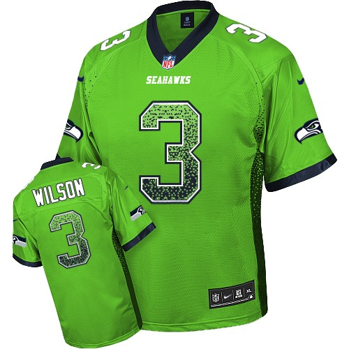 Men's Nike Seattle Seahawks #3 Russell Wilson Elite Green Drift Fashion NFL Jersey