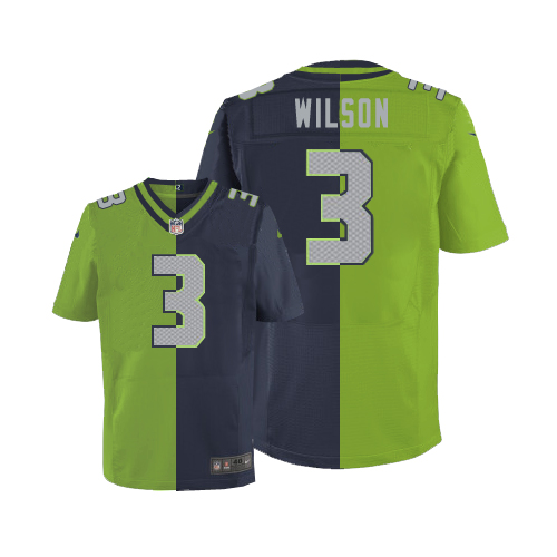 Men's Nike Seattle Seahawks #3 Russell Wilson Elite Navy/Green Split Fashion NFL Jersey