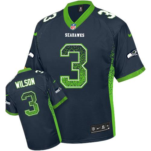 Men's Nike Seattle Seahawks #3 Russell Wilson Elite Steel Blue Drift Fashion NFL Jersey