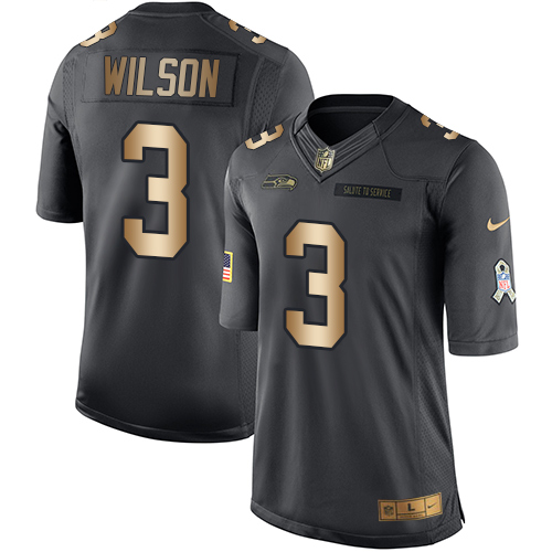 Men's Nike Seattle Seahawks #3 Russell Wilson Limited Black/Gold Salute to Service NFL Jersey
