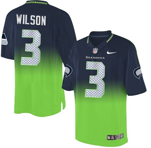 Men's Nike Seattle Seahawks #3 Russell Wilson Elite Navy/Green Fadeaway NFL Jersey