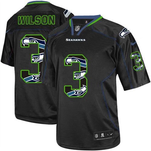 Men's Nike Seattle Seahawks #3 Russell Wilson Elite New Lights Out Black NFL Jersey