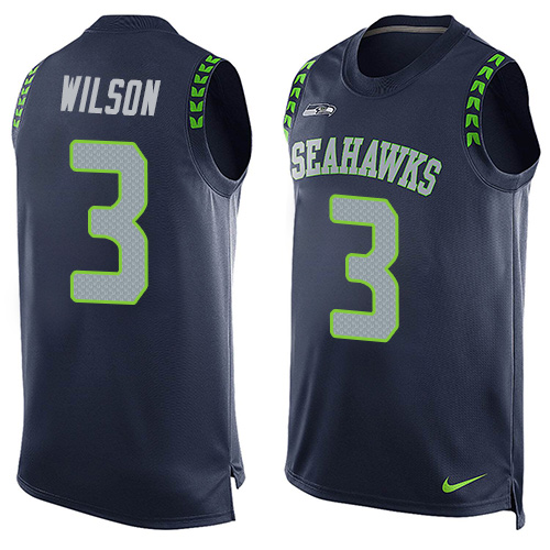 Men's Nike Seattle Seahawks #3 Russell Wilson Limited Steel Blue Player Name & Number Tank Top NFL Jersey