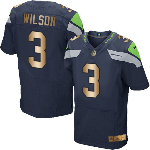 Men's Nike Seattle Seahawks #3 Russell Wilson Elite Navy/Gold Team Color NFL Jersey