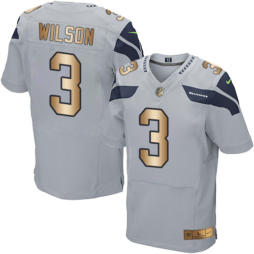 Men's Nike Seattle Seahawks #3 Russell Wilson Elite Grey/Gold Alternate NFL Jersey