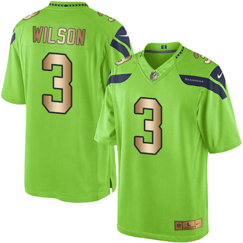 Men's Nike Seattle Seahawks #3 Russell Wilson Limited Green/Gold Rush Vapor Untouchable NFL Jersey