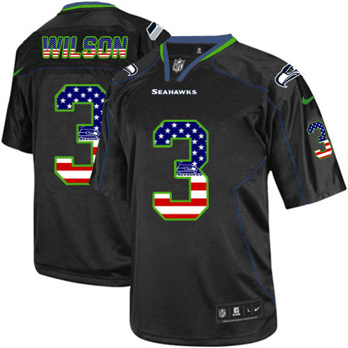Men's Nike Seattle Seahawks #3 Russell Wilson Elite Black USA Flag Fashion NFL Jersey