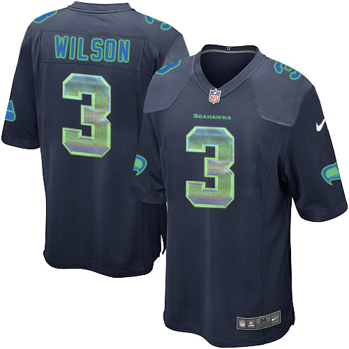 Men's Nike Seattle Seahawks #3 Russell Wilson Limited Navy Blue Strobe NFL Jersey