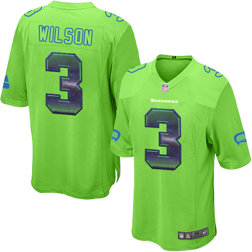 Men's Nike Seattle Seahawks #3 Russell Wilson Limited Green Strobe NFL Jersey