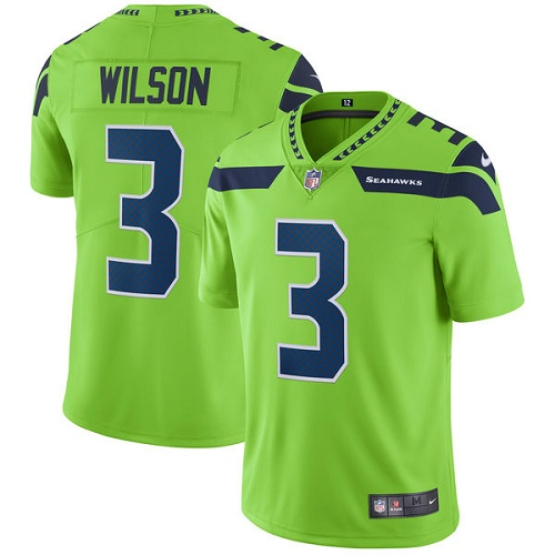 Men's Nike Seattle Seahawks #3 Russell Wilson Elite Green Rush Vapor Untouchable NFL Jersey